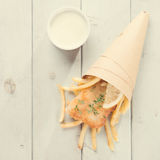 Top view fish and chips in paper cone, vintage style Royalty Free Stock Photos