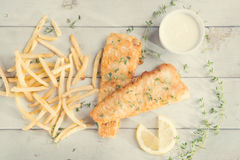 Top view fish and chips in vintage style Royalty Free Stock Images