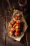 Top View of Fish Kebabs on a Wooden Table Royalty Free Stock Photos