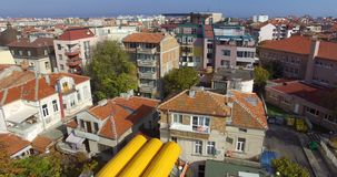 Top view of the fishing embankment in the old Pomorie, Bulgaria stock video footage