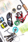 Top view on fishing tackles Royalty Free Stock Photography