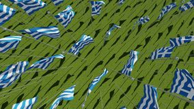 top view of the flags of Greece in green field. stock video