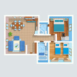 Top View Flat Interior Plan Stock Photo