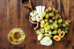 Top view flat lay appetizers table wine snacks fruits cheese royalty free stock photos