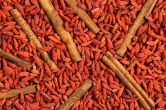 Top view, flat lay of dried goji berry fruits bearrberies and cinnamon sticks. Macro food texture background. Top view, flat lay of dried goji berry fruits stock photography