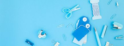 Workspace handcraft desk styled office supplies. Top view flat lay of workspace desk handcrafting holiday decor tags office supplies with copy space turquoise royalty free stock photos
