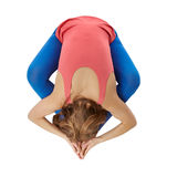Top view of flexible woman doing yoga Royalty Free Stock Image