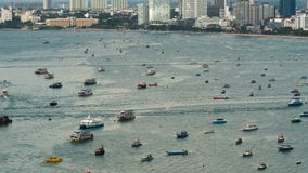 Top view of floating many ships and boats in the sea. Time Lapse. Thailand. Pattaya. Top view of floating many ships and boats in the sea. Time Lapse. Thailand stock footage