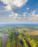 Top view flood-land of plain of big river Royalty Free Stock Photography