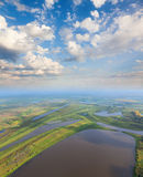 Top view flood-land of plain of big river Stock Images