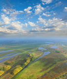 Top view flood-land of plain of big river Royalty Free Stock Photo