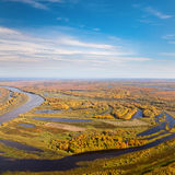 Top view of the flood-land of river in autumn Stock Images