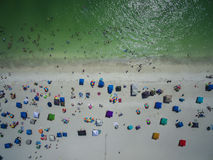Top View of Florida Beach. Top view of people in the beach the 4 of July in Anna maria Island stock photo