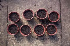 Top view of flower pots filled with soil. Preparing plastic pots for gardening. Concept with soil and gardening pots. Seeding plan stock images