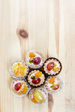 Top view on flower shape group of cupcakes Stock Image
