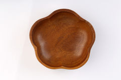 Top view of Flower shape wooden bolw  on white backgroun. D Royalty Free Stock Photo