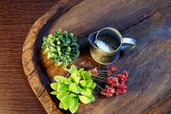 Top View of Flowerpots on a wooden tray. Top view of Flowerpots and garden tools packshot on a wooden tray Stock Images