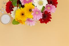 Top view flower bouquet vanity wedding dressing table space for text stock photography