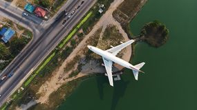 Top view from flying drone. Boeing 747 was scrapped. Park adds. Value to attractions in Nakhon Pathom Province,Thailand royalty free stock photography