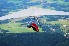 Top view of a flying man-gliding royalty free stock photos