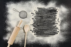 Top view food and cooking concept background. Symbols on black chalkboard with copy space Royalty Free Stock Photo