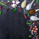 Top view of food ingredients and condiment on the table, Ingredients and seasoning on dark wooden floor Stock Image
