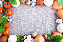 Top view of the food ingredients in the form of a frame Royalty Free Stock Images