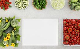 Top view food with many fresh vegetables and cutting boards on k royalty free stock photography