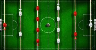 Top View of a Foosball with Soccer Ball Stock Photo