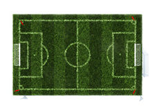 Top view of the football field. Isolated on white background Royalty Free Stock Image