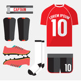 Top View Football Player Gears. Royalty Free Stock Photo