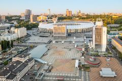 Top view Football stadium and square in Kiev. National Sports Complex Olympysky Kiev, White Grand Stadium with perforated facades. Stock Image