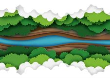 Top view of forest canopy paper art. Top view of green forest canopy,river and clouds background.Nature and environment conservation creative idea concept of vector illustration