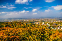 Top view on forest and Carlovy Vary at autumn Royalty Free Stock Image