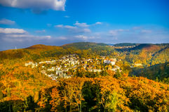 Top view on forest and Carlovy Vary at autumn Stock Image