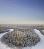 Top view forest river in a frosty day stock image