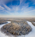 Top view forest river in a frosty day Royalty Free Stock Images