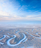 Top view of forest river in winter Stock Image
