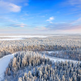 Top view of forest river in winter. Aerial view of forest river during cold winter day. Magnificent hoarfrost is on trees. A winter forest is in a hard frost Stock Photography