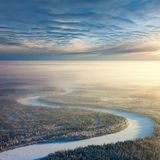 Top view of forest river in winter Royalty Free Stock Image