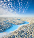 Top view of the forest river in winter Stock Photos