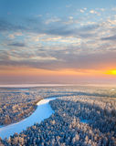 Top view of forest river at winter morning Royalty Free Stock Photos