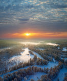 Top view of forest river at winter morning Royalty Free Stock Images