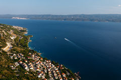 Top view from the fortress Stari Grad near Omis on the town of Nemira in Croatia Stock Images