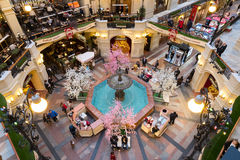 Top view of fountain in GUM mall at Red Square Stock Photo