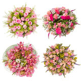 Top view of four colorful flower bouquets Stock Images