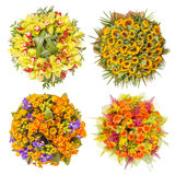 Top view of four colorful flower bouquets Stock Photography