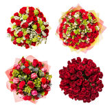 Top view of four colorful flower bouquets Royalty Free Stock Photos