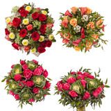 Top view of four colorful flower bouquets Royalty Free Stock Image