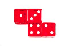 Top of view of four red dice Royalty Free Stock Images